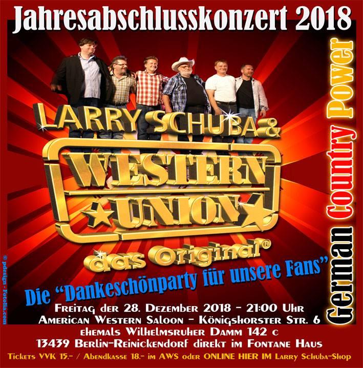 Larry Schuba & Western Union - Jahresabschlusskonzert - Berlin @ American Western Saloon