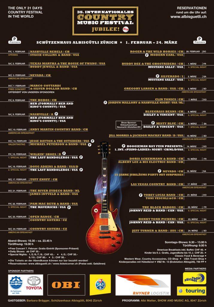35. Internationales Country Music Festival Albisgütli - Zürich/ Schweiz @ Schützenhaus Albisgütli